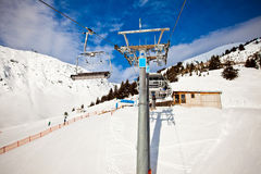 Ski chair lift in Alps, Mayerhofen, Austria Stock Photos