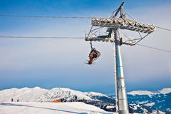 Ski chair lift in Alps, Mayerhofen, Austria Royalty Free Stock Photography