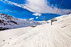 Ski chair lift in Alps, Mayerhofen, Austria Royalty Free Stock Images