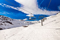 Ski chair lift in Alps, Mayerhofen, Austria Stock Images