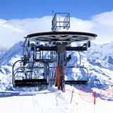 Ski chair-lift arrival. In alpine mountain, France Stock Photography