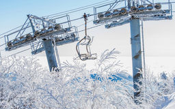 Ski chair lift is covered by snow in winter. Ski chair lift is covered by snow in winter, Korea Stock Photos