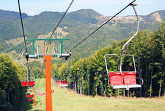 Ski chair lift for ski trail Stock Photo