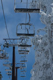 Ski chair lift with skiers. Ski resort in , navacerrada,spain Stock Image