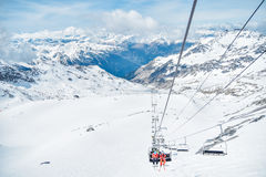 Ski Chair Lift On A Snowy Mountain Royalty Free Stock Photos