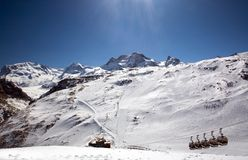 Ski chair lift in Swiss Alps Stock Photography