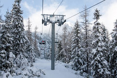 Ski chair lift. On winter mountain resort Royalty Free Stock Photography
