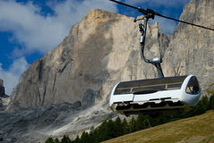 Ski Chairlift. A ski chairlift in the Dolomite Mountains of Italy Royalty Free Stock Photo