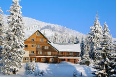 Ski chalet. In mountain village stock photography