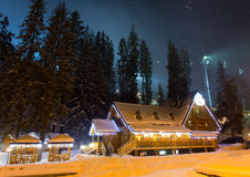 Ski chalet at night. Beautiful ski chalet at night stock photos