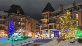 Ski Chalet Resort Christmas Time foto de stock