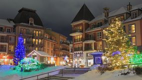 Ski Chalet Resort Christmas Time Stock Photo