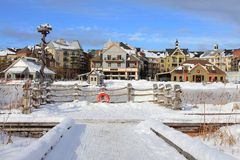Ski Chalet Village Style Resort Stockbild