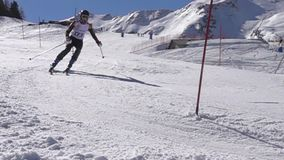 Ski Challenge slalom on the famous italian ski resort stock footage