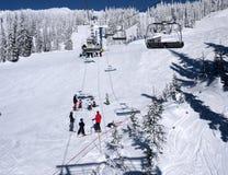 Ski class. On a sunny blue sky day Royalty Free Stock Photography