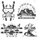 Ski club concept. Vector ski club retro badge. Concept for shirt, print, seal or stamp. Mountains are calling and i must go slogan. Typography design- stock Stock Photos