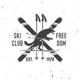 Ski club concept with wolf stock illustration