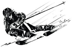 Ski competitor in action Royalty Free Illustration