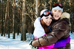 Ski couple Stock Images