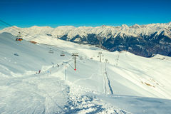Ski course and cable car in the mountains,France,Europe Royalty Free Stock Photo