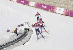 Ski Cross 50km Men's competition at Sochi 2014 Royalty Free Stock Images