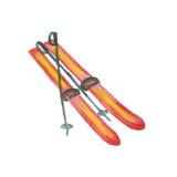 Ski d'isolement sur le blanc Photo stock