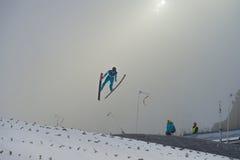 Ski de carte de travail pilotant Vikersund (Norvège) le 14 février 2015 Photo libre de droits