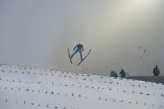 Ski de carte de travail pilotant Vikersund (Norvège) le 14 février 2015 Image stock