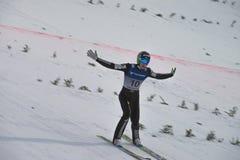 Ski de carte de travail pilotant Vikersund (Norvège) le 14 février 2015 Photos libres de droits