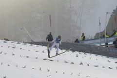 Ski de carte de travail pilotant Vikersund (Norvège) le 14 février 2015 Photographie stock libre de droits