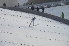 Ski de carte de travail pilotant Vikersund (Norvège) le 14 février 2015 Image libre de droits