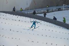 Ski de carte de travail pilotant Vikersund (Norvège) le 14 février 2015 Photos stock