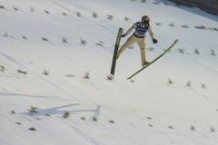 Ski de carte de travail pilotant Vikersund (Norvège) le 14 février 2015 Images stock