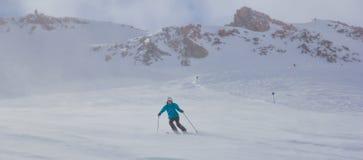 Ski de fille dans les montagnes image stock