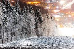 Ski de montagne de nuit Photographie stock