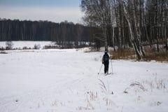 Ski de pays croisé de femme dans la forêt russe Images libres de droits