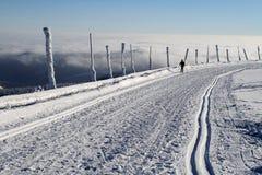 Ski de pays croisé sur la montagne de Praded Photo stock