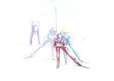Ski de pays en travers Image libre de droits