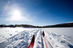 Ski de pays en travers Photos libres de droits