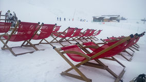 Ski deckchair. Val Thorens, France -  January  16, 2015: Showing some deckchairs at the Val Thorens Ski Resort Royalty Free Stock Photography