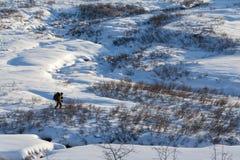 Ski, der in Berge bereist Stockfotos