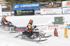 Ski Doo #230 Snowmobile Racing Stock Photo