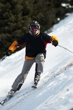 Ski downhill. Downhill on mountain ski resort Royalty Free Stock Images