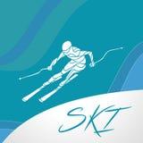 Ski downhill creative silhouette. Vector Stock Image