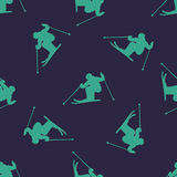 Ski downhill or mogul seamless pattern. Vector background Royalty Free Stock Photo