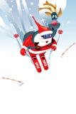 Ski drôle du père noël et de cerfs communs Image stock