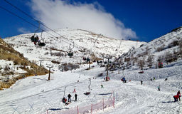 Ski elevators. People riding on Ski elevators in mount Hermon, Israel Stock Photo