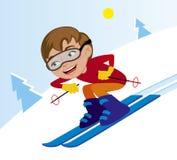 Ski en descendant en hiver illustration de vecteur