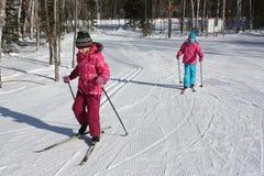 Ski?en van het jonge geitjes het Dwarsland Stock Fotografie