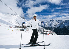 Ski?end in Alpen, Oostenrijk. Stock Fotografie
